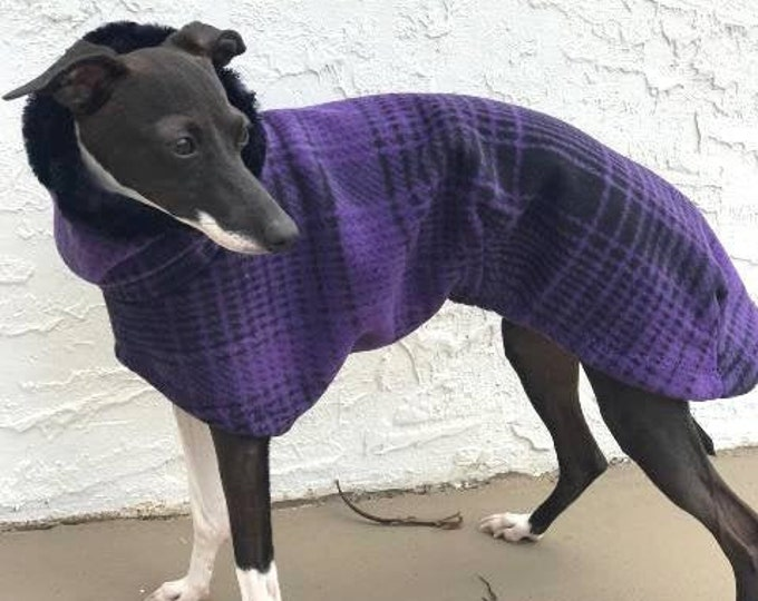 Italian Greyhound Coat - Italian Greyhound Clothing - Purple & Black Large Plaid Cocoon Coat - Fleece Dog Coat - Italian Greyhound Sizes