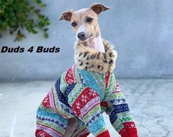 Italian Greyhound Clothing - Dog Pajamas - Ugly Christmas Leisure Suit - Italian Greyhound and small dog sizes