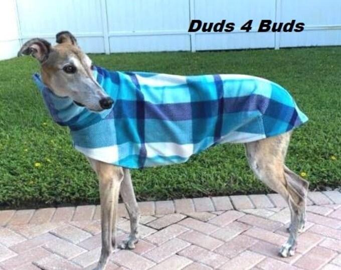 Greyhound Coat - Fleece Coat For Greyhound - Jacket for Greyhound - Blue & Teal Plaid Fleece Jacket - Greyhound Sizes