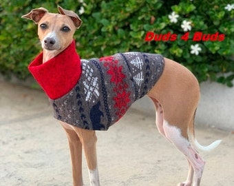 Italian Greyhound Sweater - Dog Sweater - Red Bear Sweater -  Italian Greyhound Clothing - Dog Clothing - Dog Apparel - Sweater for Iggy