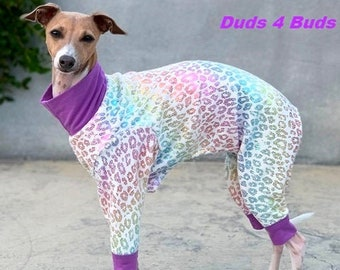 Italian Greyhound Clothing - Pajama For Dog - Onesie for Dog - Glitter Rainbow Cheetah - Small Dog Clothes