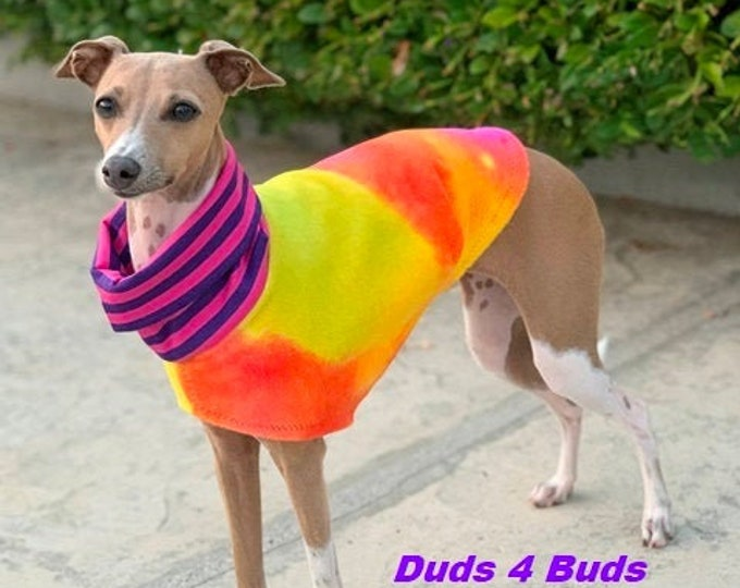 Italian Greyhound Clothing - Fleece Dog Coat - Tie Dye Vest - Dog Clothing - Pet Clothing - Small Dog Clothes - Dog Jacket - Dog Coat