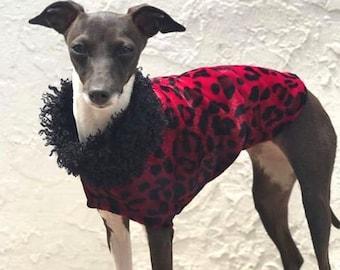 Clothing For Italian Greyhound - Jacket For Dog - Red Cheetah Velboa - Dog Clothing - Pet Clothing - Dog Clothes - Dog Coat - Fur For Dog