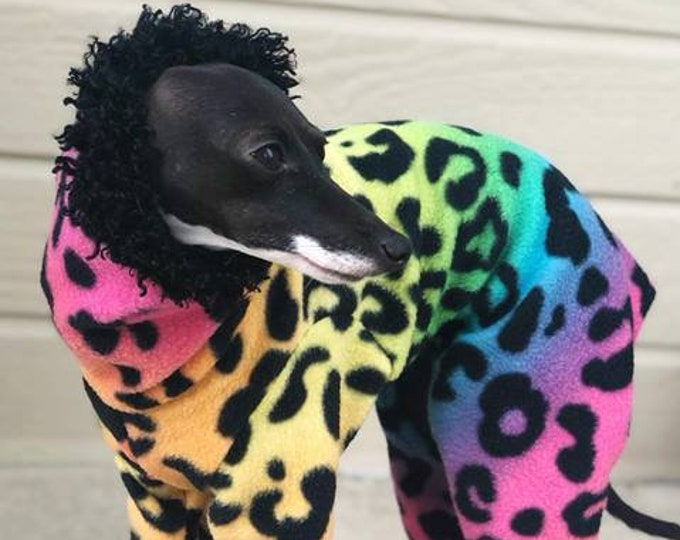 Pajama For Dog - Rainbow Cheetah - Italian Greyhound Clothing - Iggy Duds - Small Dog Clothes - Pet Clothing - Onesie for Dog - Dog Jumper