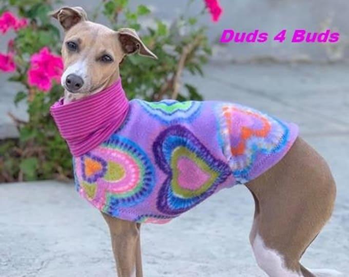 Italian Greyhound Clothing - Lavender Hearts - Italian Greyhound Coat - Dog Clothing - Pet Clothing - Small Dog Clothes - Fleece Dog Jacket