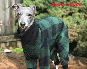 Italian Gryehound Clothing - Pajama For Dog - Green & Black Plaid - Italy Greyhound Clothing - Small Dog Clothes