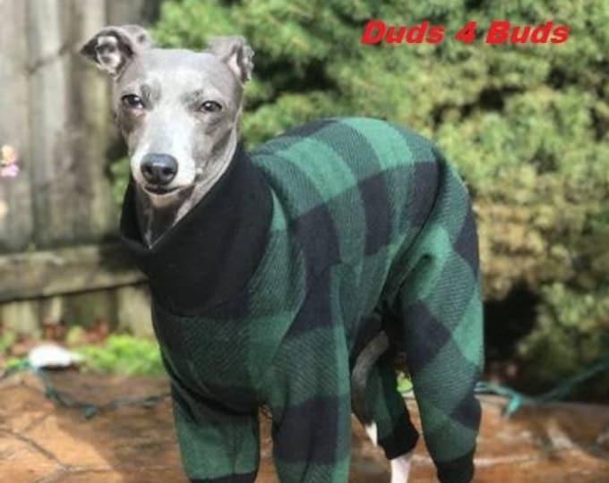 Italian Gryehound Clothing - Pajama For Dog - Green & Black Plaid - Italy Greyhound Clothing - Small Dog Clothes