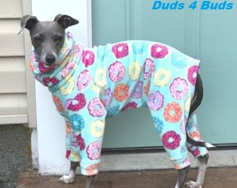 Italian Greyhound Clothing - Onesie for Dog - Pajama for Dog - Italy Greyhound - Dog Winter - Iggy Clothing - Donut - Italian Greyhound