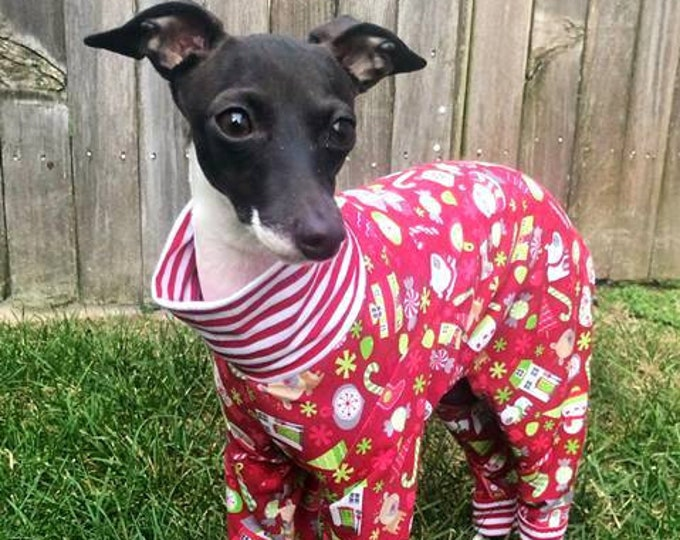Onesie for Dog - Dog Pajama - Christmas Pajama For Dog - Pet Clothing - Red Santa's Little Helper - Italian Greyhound and Small Dog Sizes