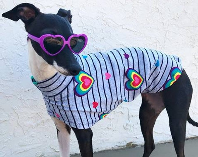 Italian Greyhound Clothing - Italy Greyhound - Iggy Clothing - - Rainbow Heart Tee - Italian Greyhound and Small Dog Sizes