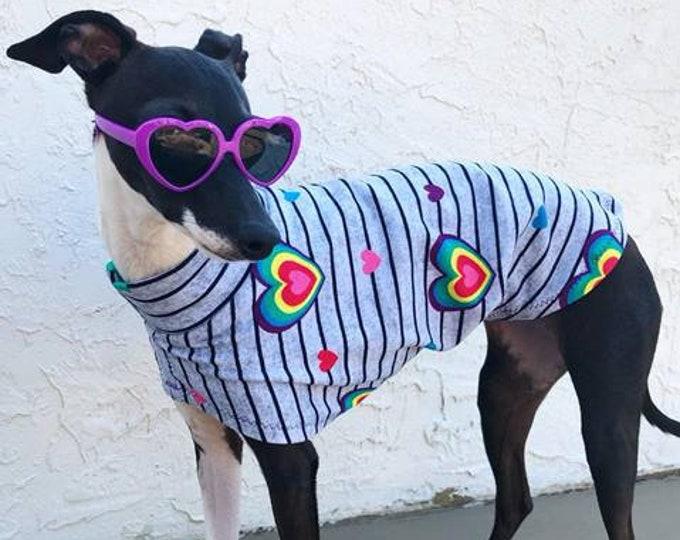 Italian Greyhound Clothing - Rainbow Heart Tee - Italian Greyhound and Small Dog Sizes