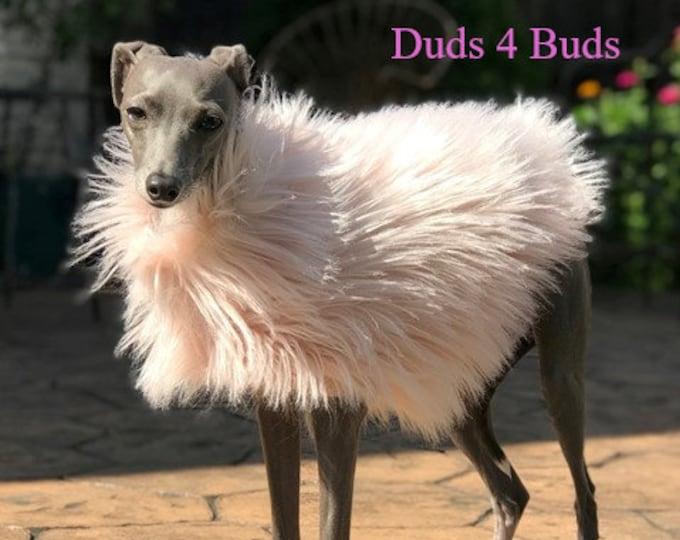 Italian Greyhound Clothing - Jacket for Italian Greyhound - Girl Dog clothes - Blush - Girl Dog Clothing - Iggy Duds-  Fur Coat for Dog