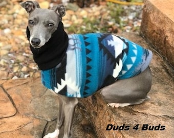 Italian Greyhound Clothing - Blue Aztec - Coat for Italian Greyhound - Dog Clothing - Pet Clothing - Small Dog Clothes - Dog Jacket