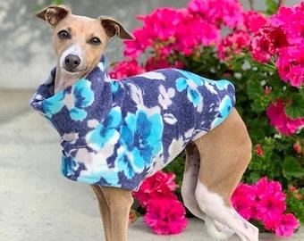 Italian Greyhound Clothing - Dog Coat - Dog Clothing - Blue Floral - Pet Clothing - Small Dog Clothes - Dog Jacket - Italy Dog