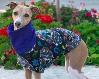 Halloween For Dog - Fleece Coat for Italian Greyhound - Dog Coat - Candy Skulls Vest - Dog Jacket - Pet Clothing - Small Dog Clothes