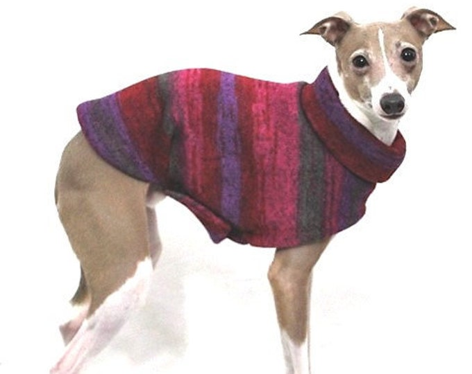 Italian Greyhound Sweater - Red Purple Tie Dye - Sweater for Dog - Small Dog Sweater - Small Dog Clothes - Pet Apparel - Small Dog Apparel