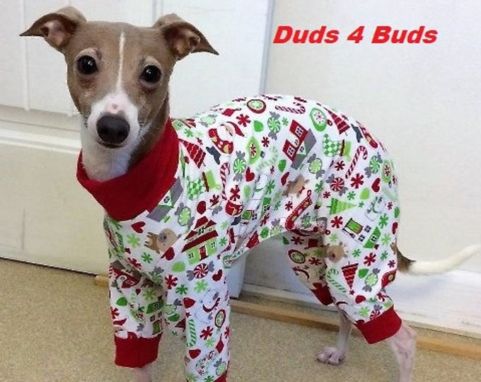 Christmas Pajama for Dog - Italian Greyhound Clothing - Dog Pajamas - Santa's Little Helper - Italian Greyhound and small dog sizes