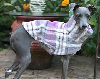 Italian Greyhound Clothing - Italian Greyhound Coat - Dog Clothing - Pink & Gray Plaid - Pet Clothing - Small Dog Clothes - Dog Jacket