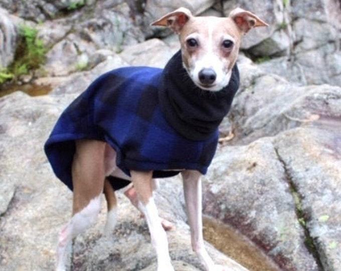 Italian Greyhound Coat - Dog Coat - Blue Buffalo - Fleece Coat for Dog - Italian Greyhound Clothing - Dog Clothing - Dog Apparel - Iggy Duds