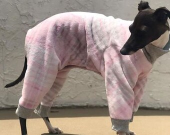 Dog Pajamas - Onesie for Dog - Pink & Gray Plaid Jumper - Italian Greyhound and small dog sizes