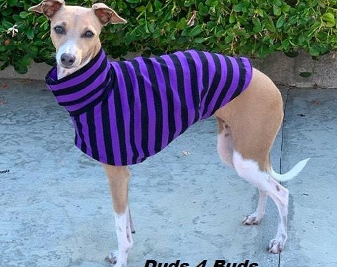 Italian Greyhound Clothing - Pet Halloween - Italy Greyhound - Iggy Clothing - Purple and Black Stripes Tee - Italian Greyhound Size