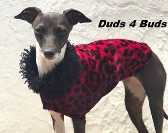 Italian Greyhound Clothing - Jacket For Dog - Red Cheetah - Dog Clothing - Iggy Duds - Pet Clothing - Dog Clothes - Dog Coat - Fur For Dog