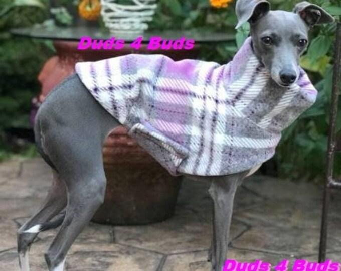 Italian Greyhound Clothing - Italian Greyhound Coat - Dog Clothing - Pink & Gray Plaid - Pet Clothing - Small Dog Clothes - Dog Jacket