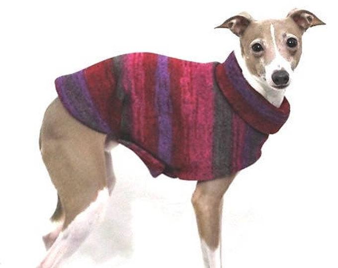 "Italian Greyhound Sweater. ""Red & Purple Tie Dye Sweater"" - Italian Greyhound sizes"