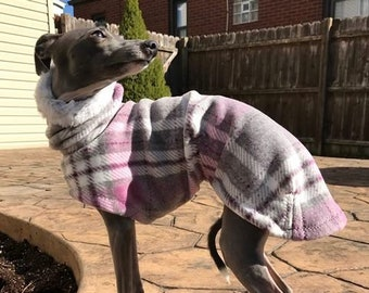 Italian Greyhound Clothing - Italian Greyhound Coat - Pink & Gray Lattice Hoodie - Italian Greyhound sizes