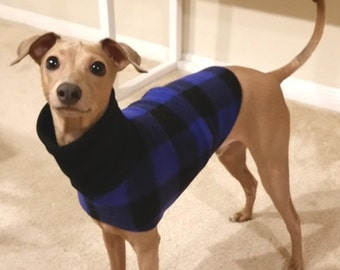 Italian Greyhound Clothing - Blue Buffalo Plaid Jacket - Coat for Italian Greyhound - Dog Clothing - Pet Clothing - Small Dog Clothes