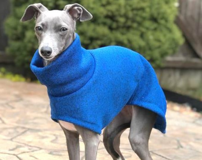 Italian Greyhound Coat - Italian Greyhound Clothes - Long Blue - Sweater for Dog - Small Dog Sweater - Small Dog Clothing -  Iggy