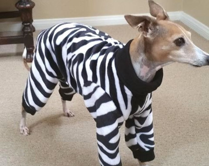 Dog Pajamas - Le Zebra Jumper - Italian Greyhound Clothing and Small Dog Sizes