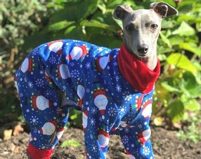 "Christmas Pajamas for Dog. ""Royal Blue Santa PJ's"" - Italian Greyhound and small dog sizes"