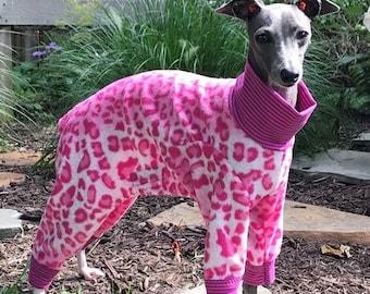 "Dog Pajamas. ""Pink Cheetah Pajama"" - Italian Greyhound and small dog sizes"