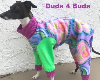 Pajama For Dog - Girl Dog Clothes - Onesie for Dog - Pet Pajama - Lavender Hearts - Dog Jumper - Small Dog Clothes - Pet clothing