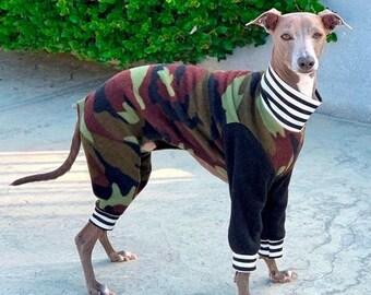 Italian Greyhound Clothing - Dog Pajamas - Boy Dog Clothing - Camo - Small Dog Clothes