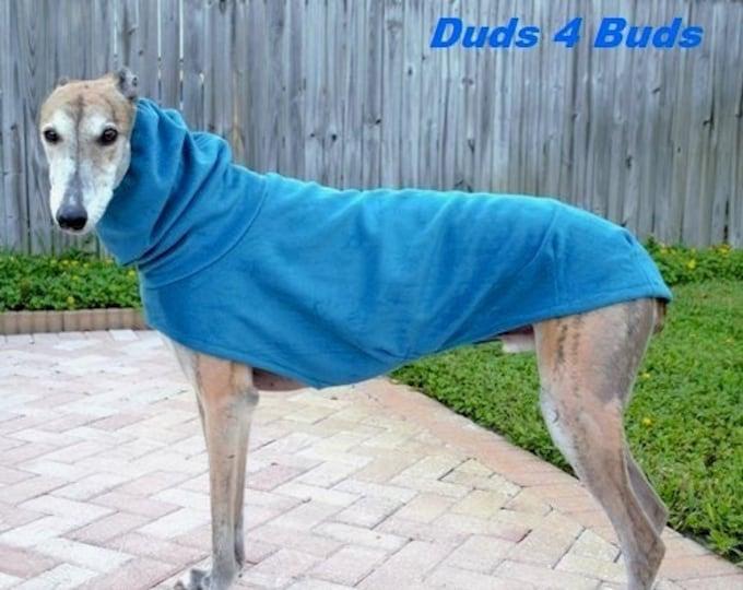 Winter Coat for Greyhound - Greyhound Coat - Hoodie for Dog - Fleece Dog Coat - Teal Luxe - Greyhound Sizes