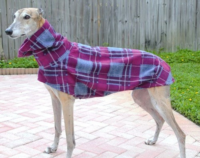 "Greyhound Coat. Heavy-Weight ""Blue & Seam Foam Plaid Cocoon Coat"" - Greyhound Sizes"