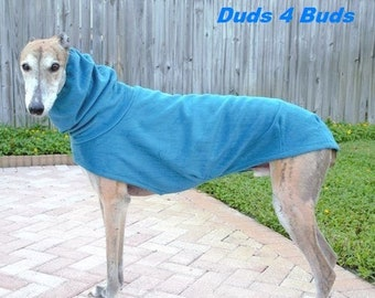 Winter Coat for Greyhound - Greyhound Coat - Dog Coat - Fleece Dog Coat - Heavy Teal - Dog Apparel - Dog Clothes - Greyhound Clothing