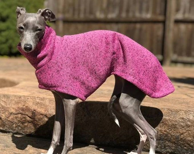"Italian Greyhound Sweater. ""Long Pink Sweater Coat"" - Italian Greyhound sizes"