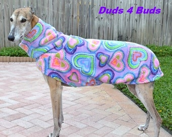 Greyhound Coat - Fleece Coat For Greyhound - Jacket for Greyhound - Lavender Hearts Jacket - Greyhound Sizes