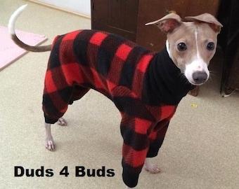 Italian Greyhound Clothing - Pajama For Dogs - Lumberjack - Italy Greyhound Clothing - Small Dog Clothes - Doy Dog Clothing -Onesie for Dog
