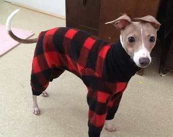 Pajama For Dog - Christmas Pajama For Dog - Lumberjack Jams - Italian Greyhound Clothing - Small Dog Clothes - Pet Clothing - Onesie for Dog