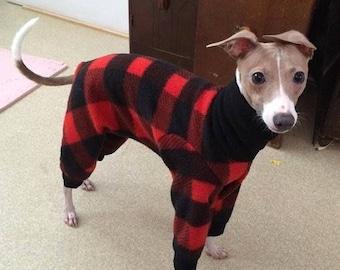 "Dog Pajamas. ""Lumberjack Jams"" - Italian Greyhound and small dog sizes"