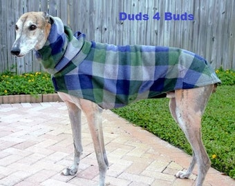 Greyhound Coat - Winter Coat for Greyhound - Coat For Dog - Fleece Dog Coat - Blue and Olive Cocoon - Dog Apparel - Dog Coat - Dog Clothes