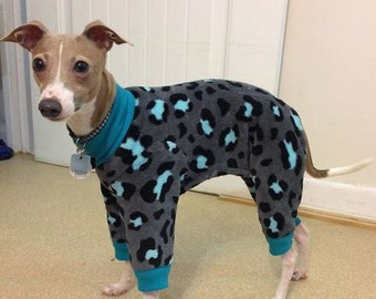 "Dog Pajamas. ""Teal Cheetah Jumper"" -  Italian Greyhound and small dog sizes"