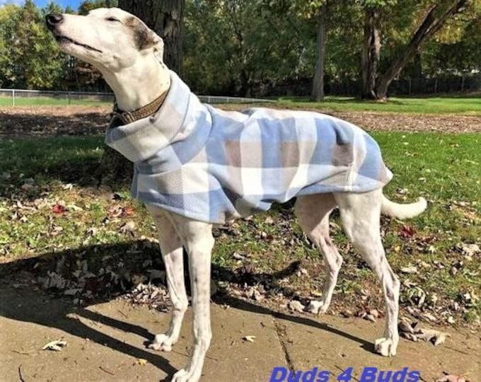 Winter Coat for Greyhound - Greyhound Coat - Fleece Coat for Dog - Blue Gray White Plaid - Dog Jacket - Greyhound Sizes