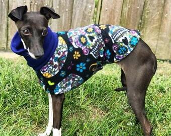 Halloween For Dog - Fleece Dog Coat - Italian Greyhound Clothing. Candy Skulls Jammie / Daycoat - Italian Greyhound and Small Dog Sizes