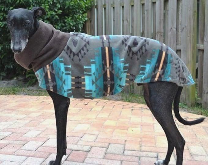 """Greyhound Coat. Dog jacket. Greyhound Clothing. """"Turquoise Moondance"""" Jacket. Coat for Greyhound. Pet Clothing. Fleece coat for dog. Dog"""