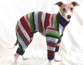 "Dog Pajamas. ""Multi-Stripe Sweater Romper"" - Italian Greyhound and small dog sizes"